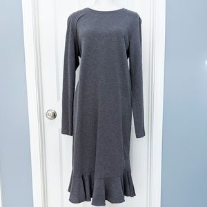 Zara trafaluc long sleeve knit ruffle hem dress
